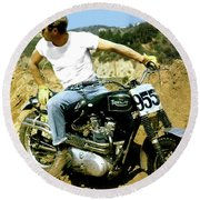 Steve Mcqueen, Triumph Motorcycle, On Any Sunday Round Beach Towel