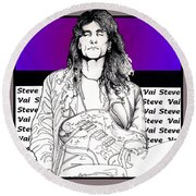 Steve Vai Sitting Round Beach Towel