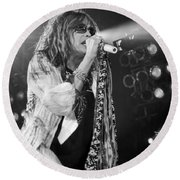 Steven Tyler In Concert Round Beach Towel by Traci Cottingham