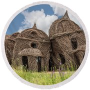 Lean On Me - Stick House Series #2 Round Beach Towel