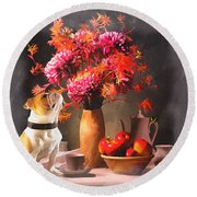 Still - Floral And Fruit Round Beach Towel