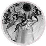 Still Life - 6 Sunflowers In A Jug Round Beach Towel