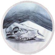 Still Life Drawing Cow Skull 02 Round Beach Towel
