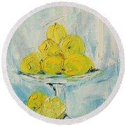 Still Life - Lemons Round Beach Towel
