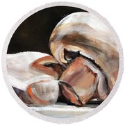 Still Life Mushrooms Round Beach Towel