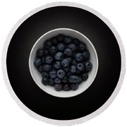 Still Life Of A Bowl Of Blueberries. Round Beach Towel