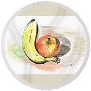 Still Life Of Apple And Banana  Round Beach Towel