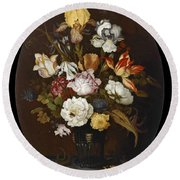 Still Life Of Flowers In A Glass Vase Round Beach Towel