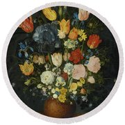 Still Life Of Flowers In A Stoneware Vase Round Beach Towel