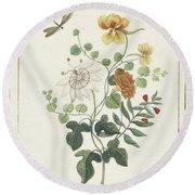 Still Life Of Flowers, Machtelt Moninckx, C. 1600 - C. 1687 Round Beach Towel