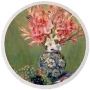 Still Life Of Fruits And Flowers Round Beach Towel