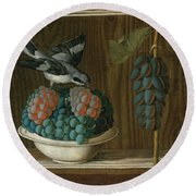 Still Life Of Grapes With A Gray Shrike Round Beach Towel