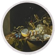 Still Life Of Hazelnuts Grapes Oysters And Other Foods On A Draped Table Round Beach Towel