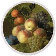 Still Life Of Peaches  Grapes And Plums On A Stone Ledge With A Bird And Butterfly Round Beach Towel