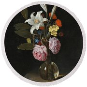 Still Life Of Roses Lilies And Other Flowers In A Glass Vase On A Marble Ledge Round Beach Towel