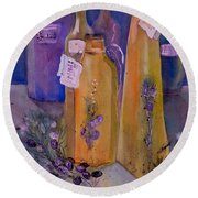 Still Life Olive Oil And Olive Twigs Round Beach Towel