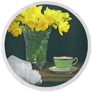 Still Life On Rustic Table Round Beach Towel