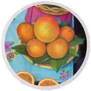 Still Life Oranges And Grapefruit Round Beach Towel