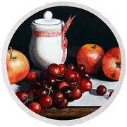 Still Life 'preserve Pot And Fruit' Round Beach Towel