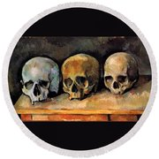 Still Life, Three Skulls Round Beach Towel