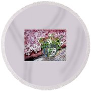 Still Life Vase And Lace Watercolor Painting Round Beach Towel