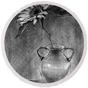 Still Life - Vase With One Sunflower Round Beach Towel
