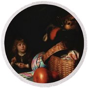 Still Life With A Boy Blowing Soap Bubbles 1636 Round Beach Towel
