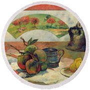 Still Life With A Fan Round Beach Towel by Paul Gauguin