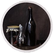 Still Life With A Jellyjar A Carafe And A Bottle Of Wine Round Beach Towel