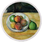 Still Life With A Peach And Two Green Pears Round Beach Towel