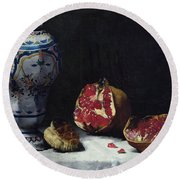 Still Life With A Pomegranate Round Beach Towel