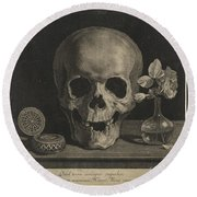 Still Life With A Skull And A Vase Of Roses Round Beach Towel