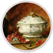 Still Life With A Soup Tureen Round Beach Towel
