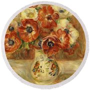 Still Life With Anemones  Round Beach Towel by Pierre Auguste Renoir