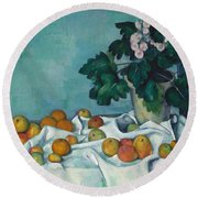 Still Life With Apples And A Pot Of Primroses, 1890 Round Beach Towel