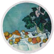 Still Life With Apples And A Pot Of Primroses Round Beach Towel