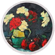 Still Life With Apples And Carnations Round Beach Towel by Ana Maria Edulescu