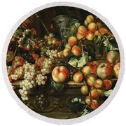 Still Life With Apples And Grapes Round Beach Towel