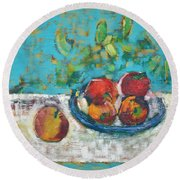 Still Life With Apples Round Beach Towel
