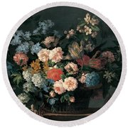 Still Life With Basket Of Flowers Round Beach Towel
