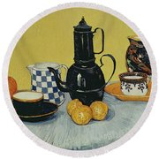 Still Life With Blue Enamel Coffeepot, Earthenware And Fruit, 1888 Round Beach Towel