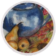Still Life With Blue Teapot One Round Beach Towel