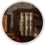 Still Life With Books Round Beach Towel