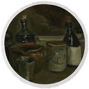 Still Life With Bottles And Earthenware Nuenen, November 1884 - April 1885 Vincent Van Gogh 1853  Round Beach Towel