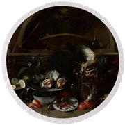 Still Life With Bottles And Oysters Round Beach Towel