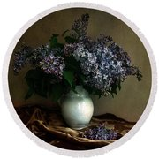 Still Life With Bouqet Of Fresh Lilac Round Beach Towel