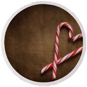 Still Life With Candy Canes Round Beach Towel