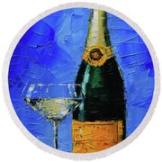 Still Life With Champagne Bottle And Glass Round Beach Towel