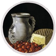 Still Life With Cherries  Cheese And Greengages Round Beach Towel