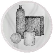 Still Life With Cup Bottle And Shapes Round Beach Towel